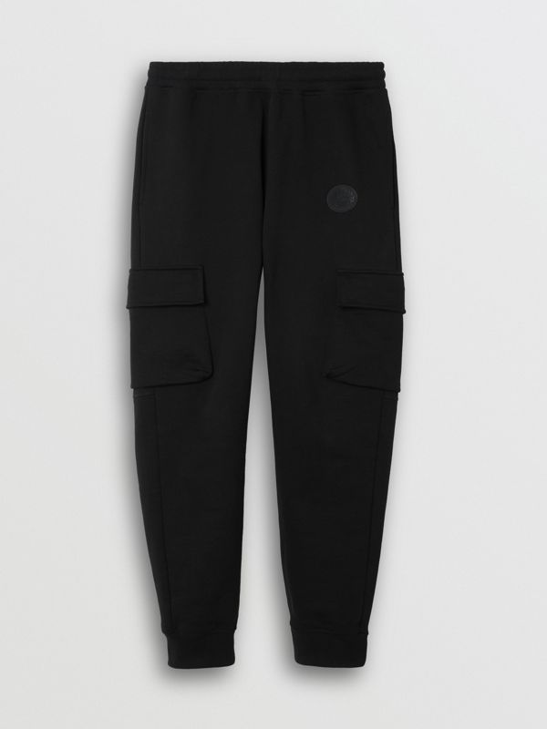 Pocket Detail Cotton Jersey Trackpants in Black - Men | Burberry - cell image 3