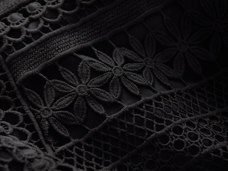 Puff-sleeve Macramé Lace Dress in Black - Women | Burberry - cell image 1
