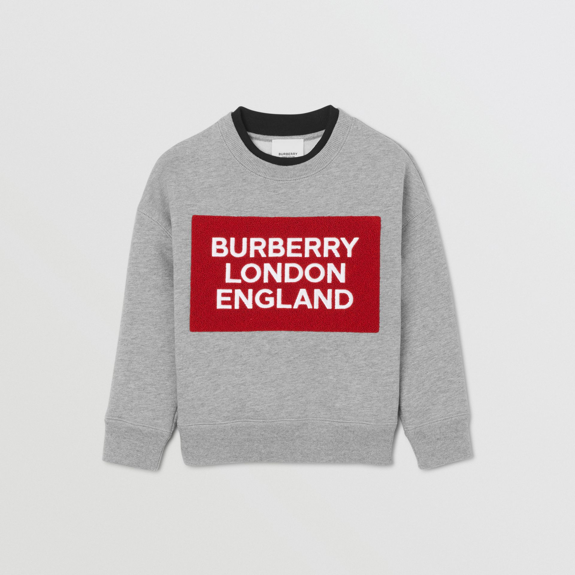 Logo Detail Cotton Sweatshirt in Grey Melange | Burberry - gallery image 0