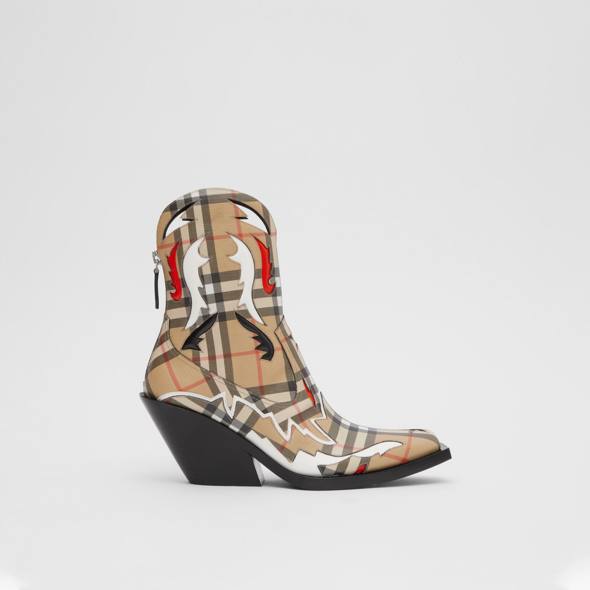 Topstitch Appliqué Vintage Check E-canvas Boots in Archive Beige - Women | Burberry - gallery image 5