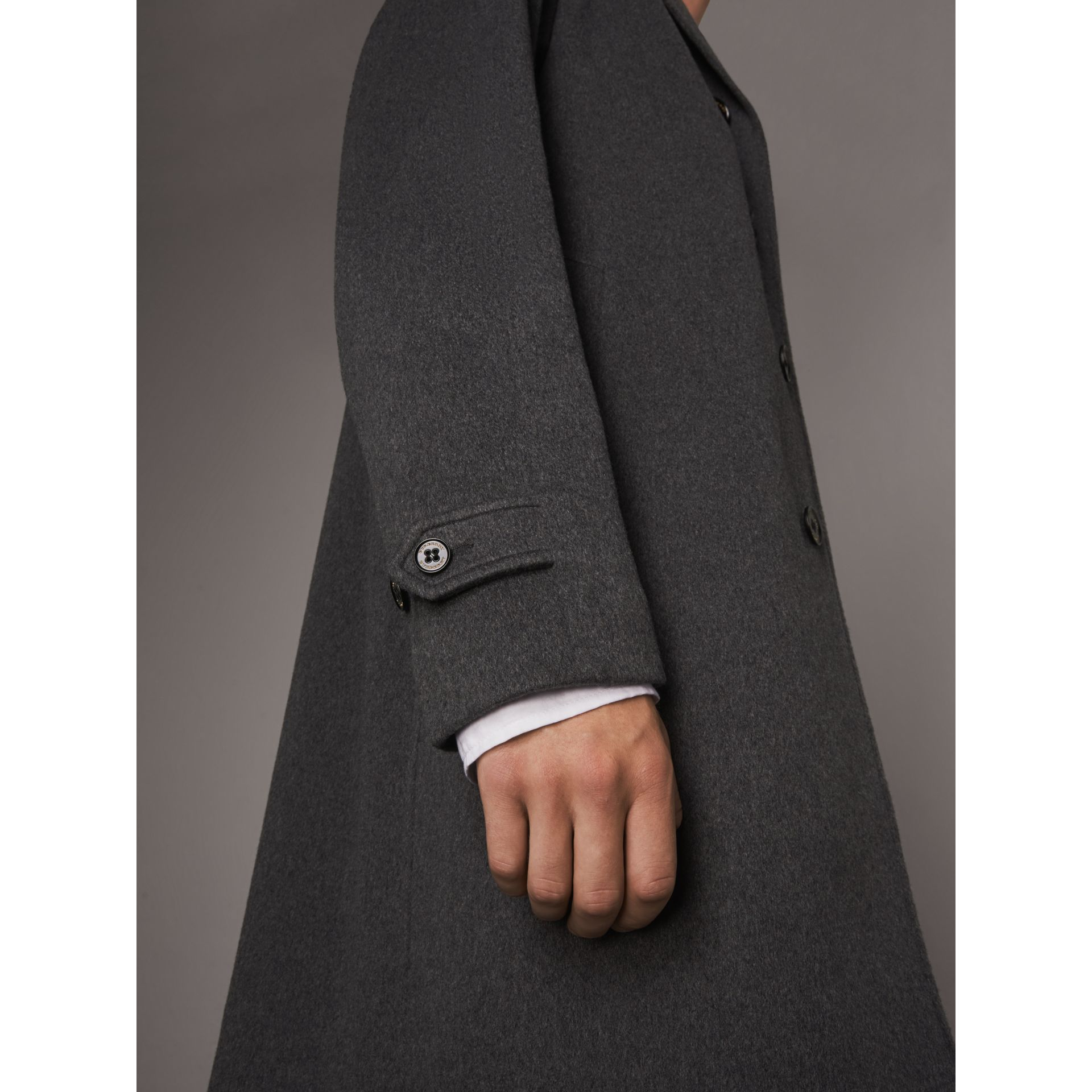 Cashmere Car Coat in Pewter Melange - Men | Burberry Australia - gallery image 5