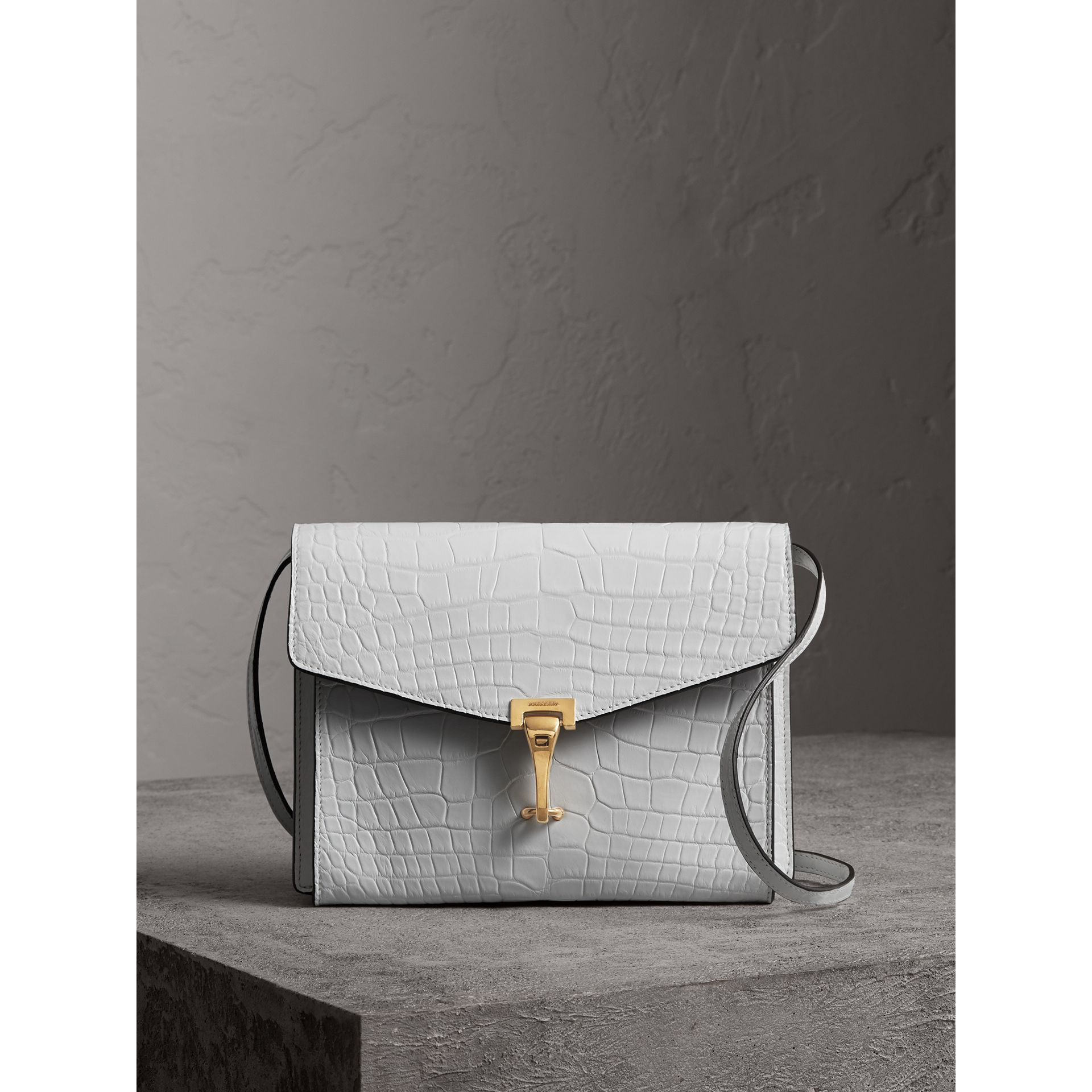 Small Alligator Crossbody Bag in Chalk White - Women | Burberry Canada - gallery image 0