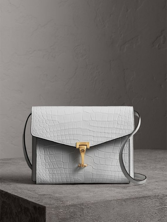 Small Alligator Crossbody Bag in Chalk White