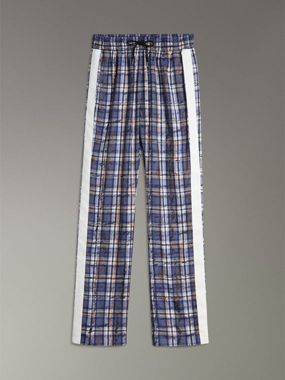 Stripe Detail Scribble Check Silk Tailored Track Pants in Navy/white - Women | Burberry Australia - cell image 3