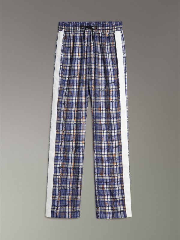 Stripe Detail Scribble Check Silk Track Pants in Navy/white - Women | Burberry - cell image 3