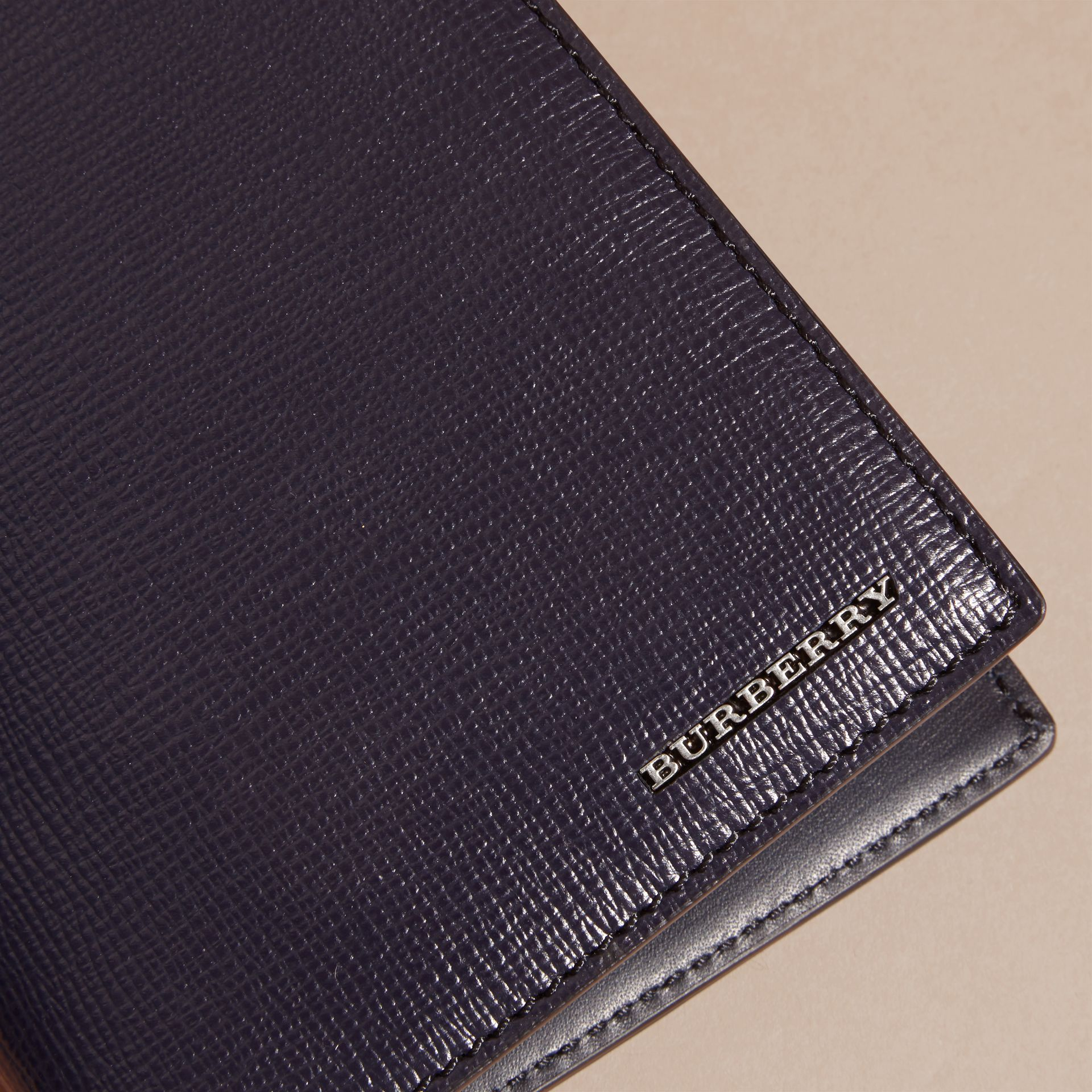 London Leather Passport and Card Holder in Dark Navy - Men | Burberry - gallery image 1