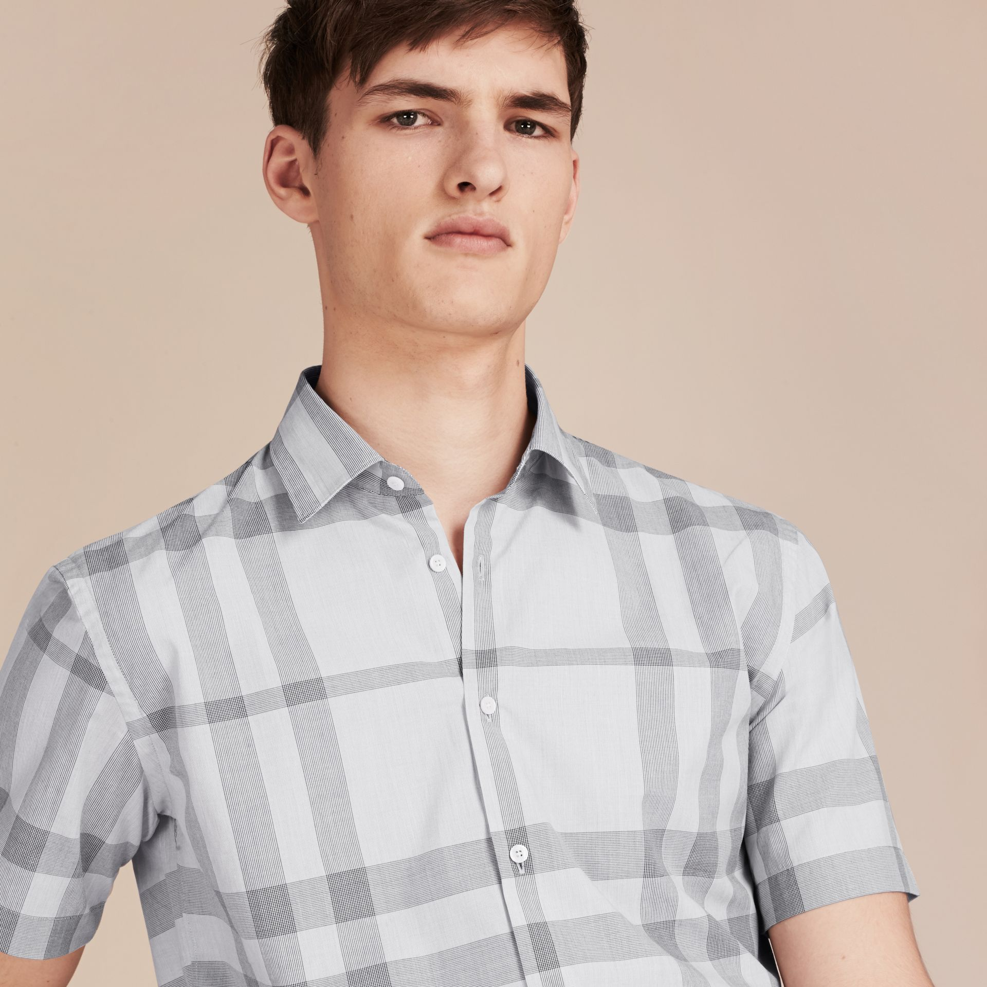 Pale grey Short-sleeved Check Cotton Shirt - gallery image 5