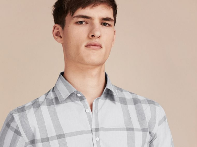 Pale grey Short-sleeved Check Cotton Shirt - cell image 4