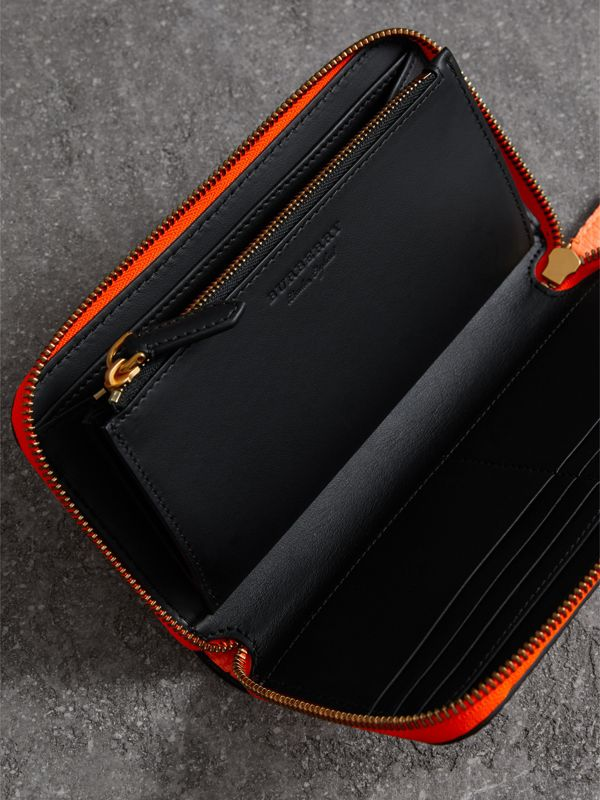 Embossed Leather Ziparound Wallet in Bright Orange - Women | Burberry - cell image 3