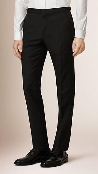 Slim Fit Wool Mohair Tuxedo Trousers