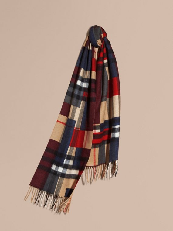 The Classic Cashmere Scarf in Colour Block Check