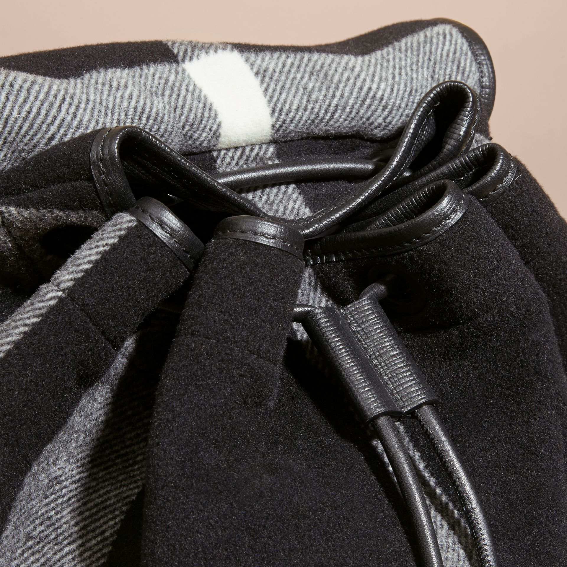 Black The Large Rucksack in Check Wool Blend and Leather Black - gallery image 2