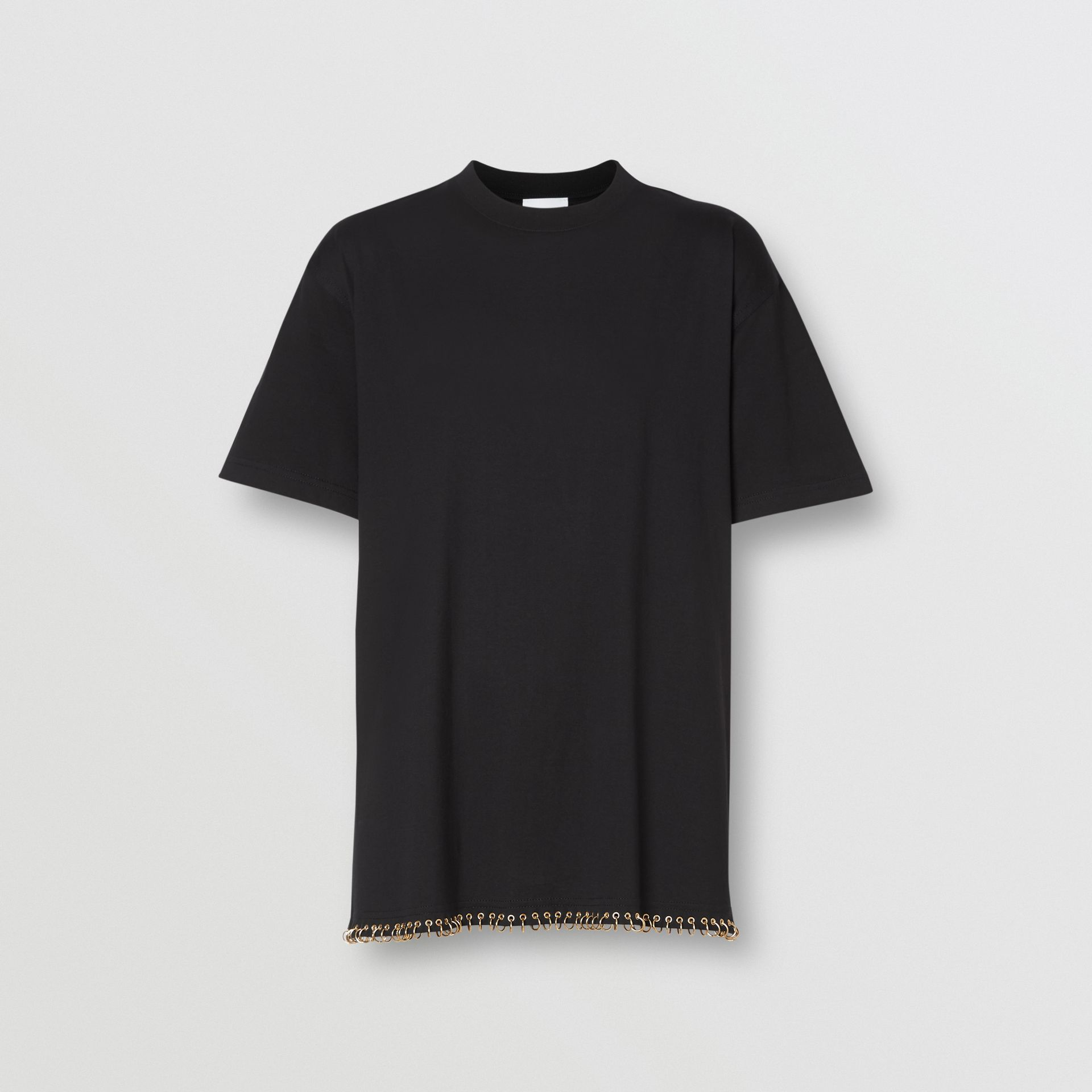 Ring-pierced Cotton Oversized T-shirt in Black - Women | Burberry Singapore - gallery image 3