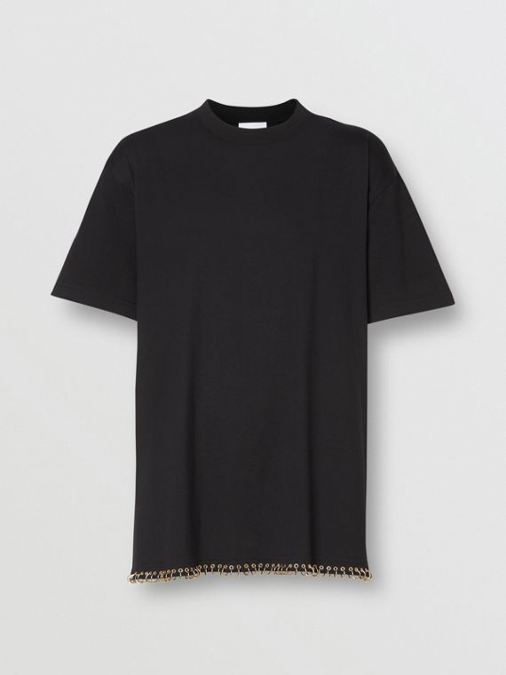 Ring-pierced Cotton Oversized T-shirt in Black