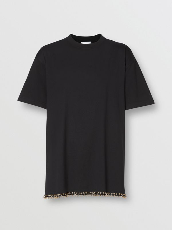 Ring-pierced Cotton Oversized T-shirt in Black - Women | Burberry United States - cell image 3