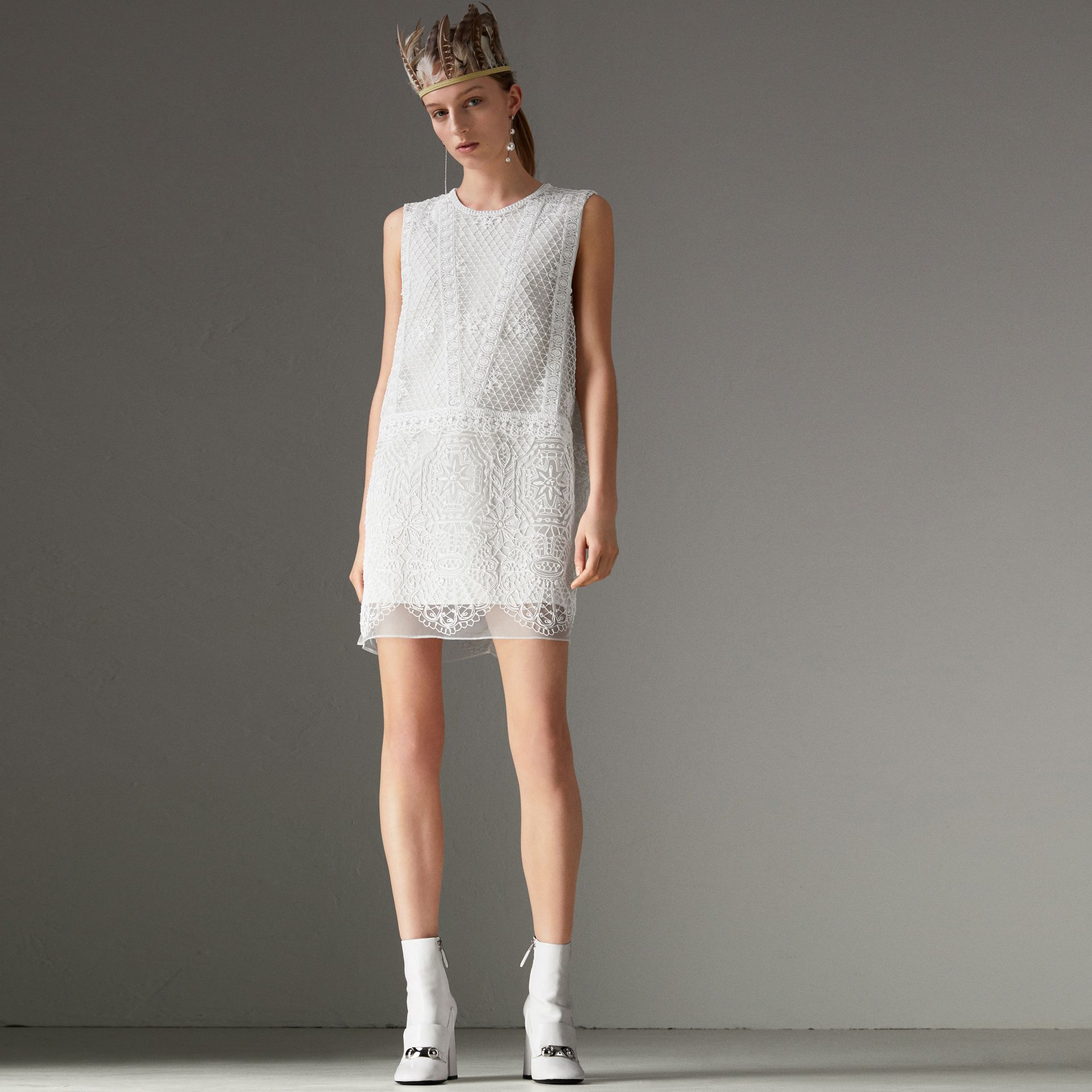 Silicone Lace Mini Dress in White - Women | Burberry Singapore - gallery image 0