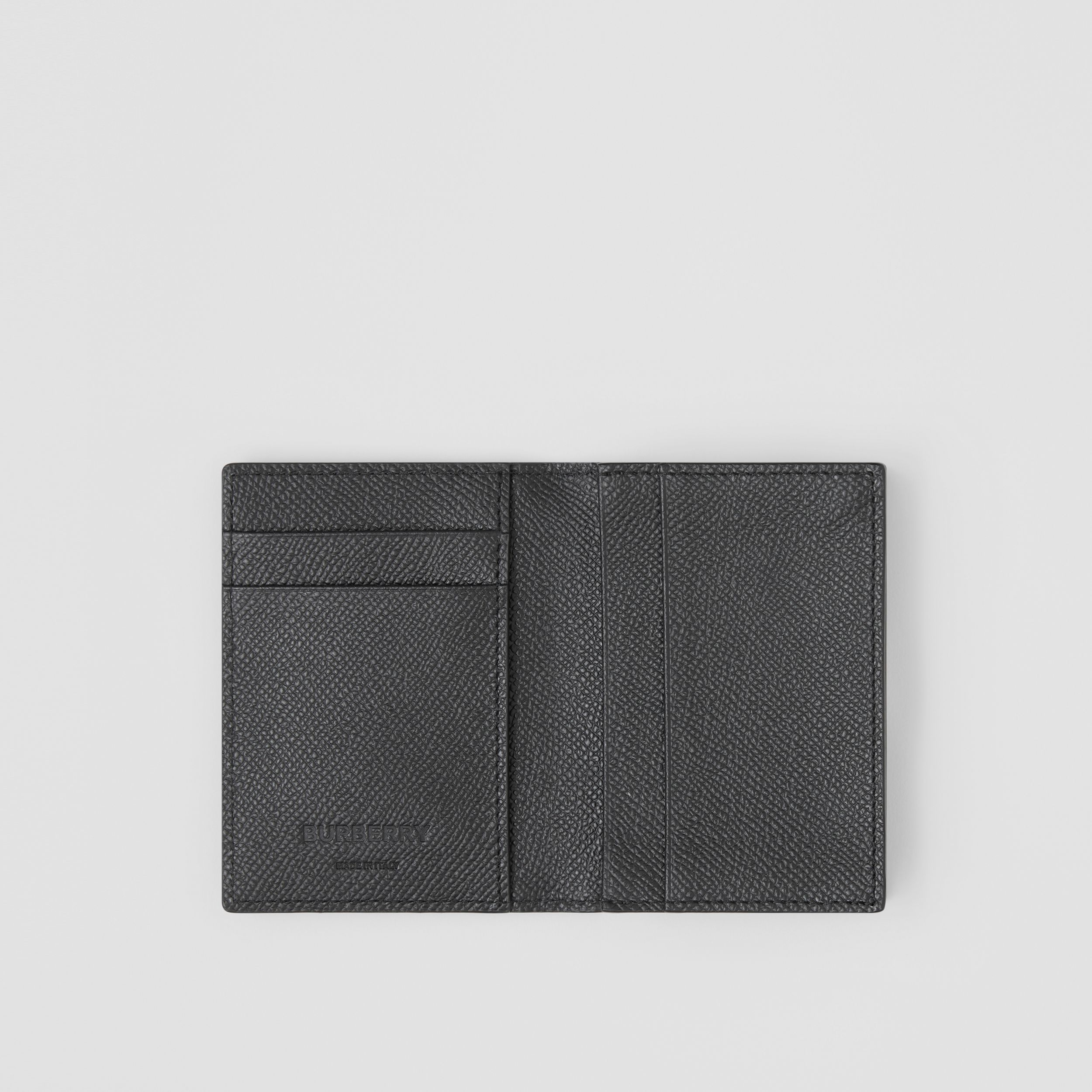 Grainy Leather Folding Card Case in Black - Men | Burberry - 3