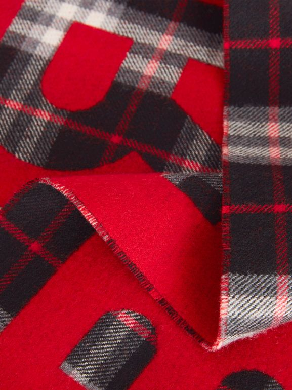 Logo Detail Vintage Check Wool Jacquard Scarf in Black - Children | Burberry Canada - cell image 1