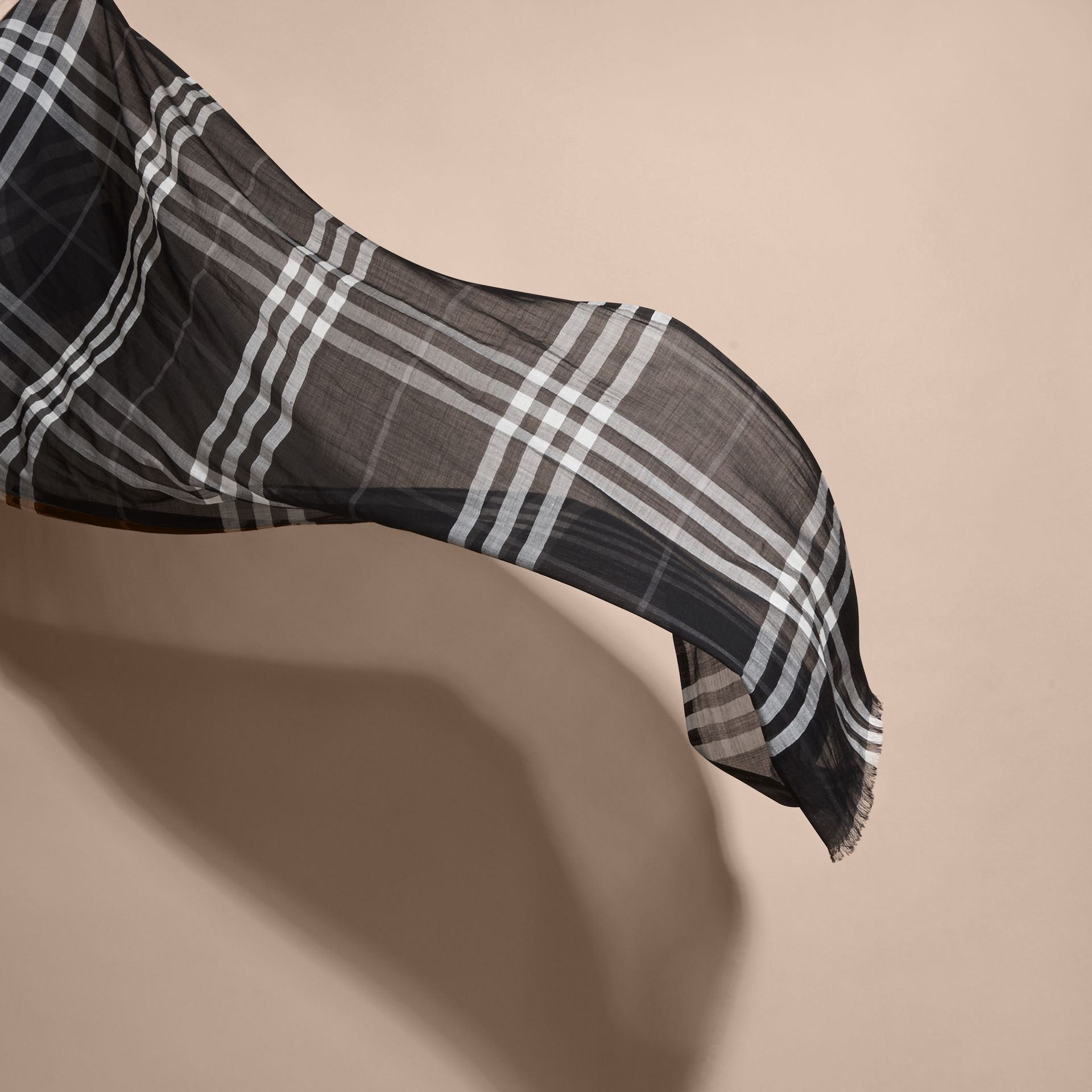 Lightweight Check Wool and Silk Scarf in Black - gallery image 4