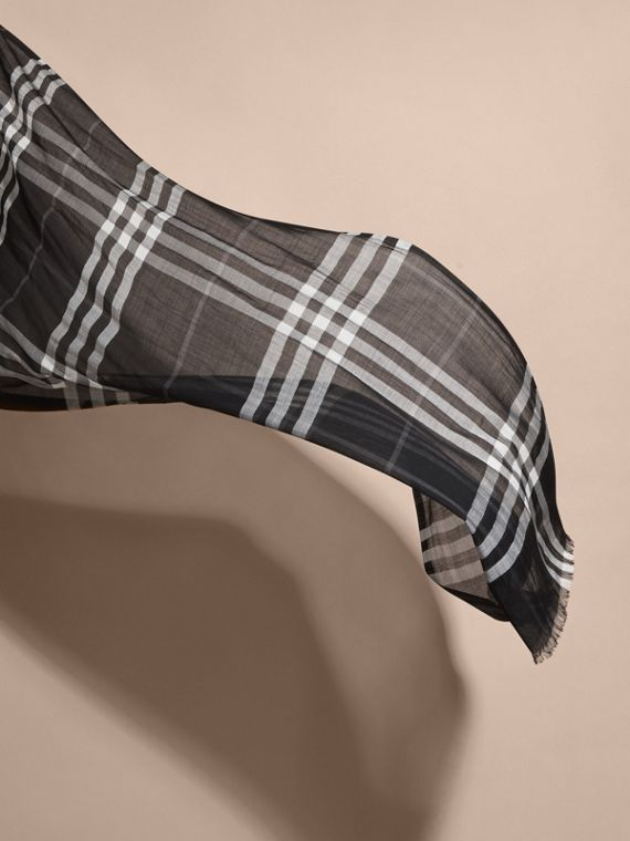 Lightweight Check Wool and Silk Scarf in Black - cell image 3