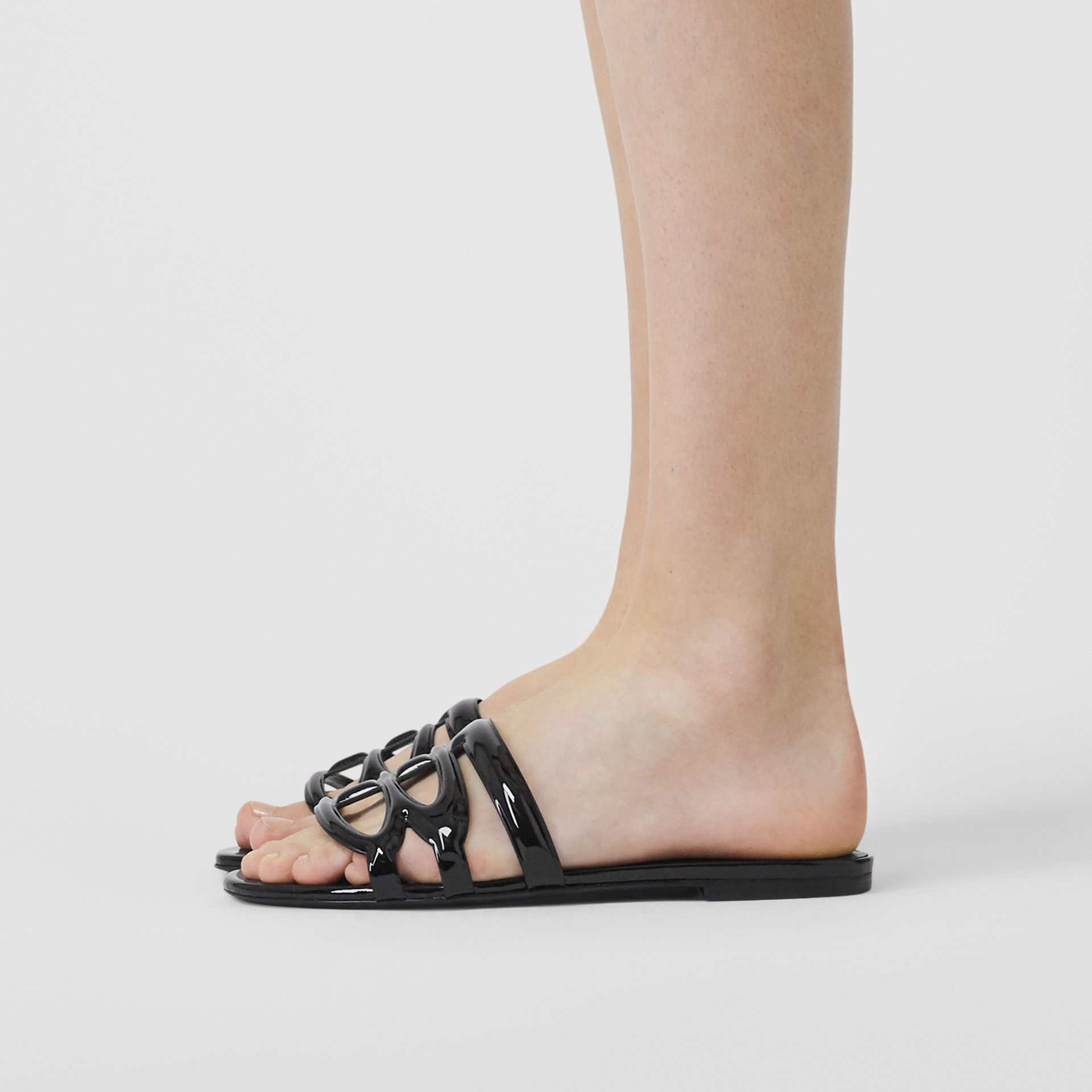 Monogram Motif Patent Leather Sandals in Black - Women | Burberry United Kingdom - gallery image 2