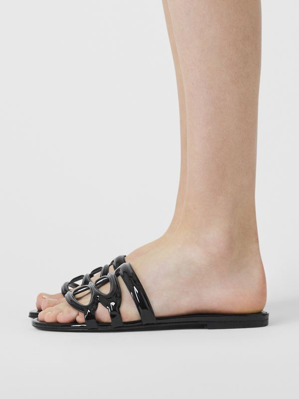 Monogram Motif Patent Leather Sandals in Black - Women | Burberry United Kingdom - cell image 2