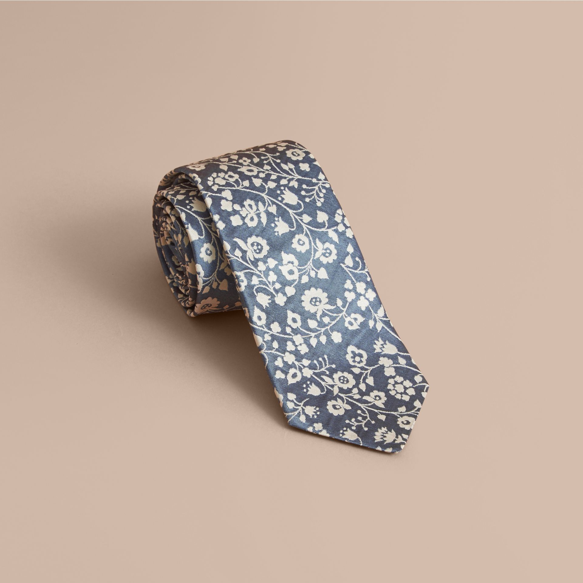 Modern Cut Floral Silk Jacquard Tie in Pale Blue - Men | Burberry - gallery image 1