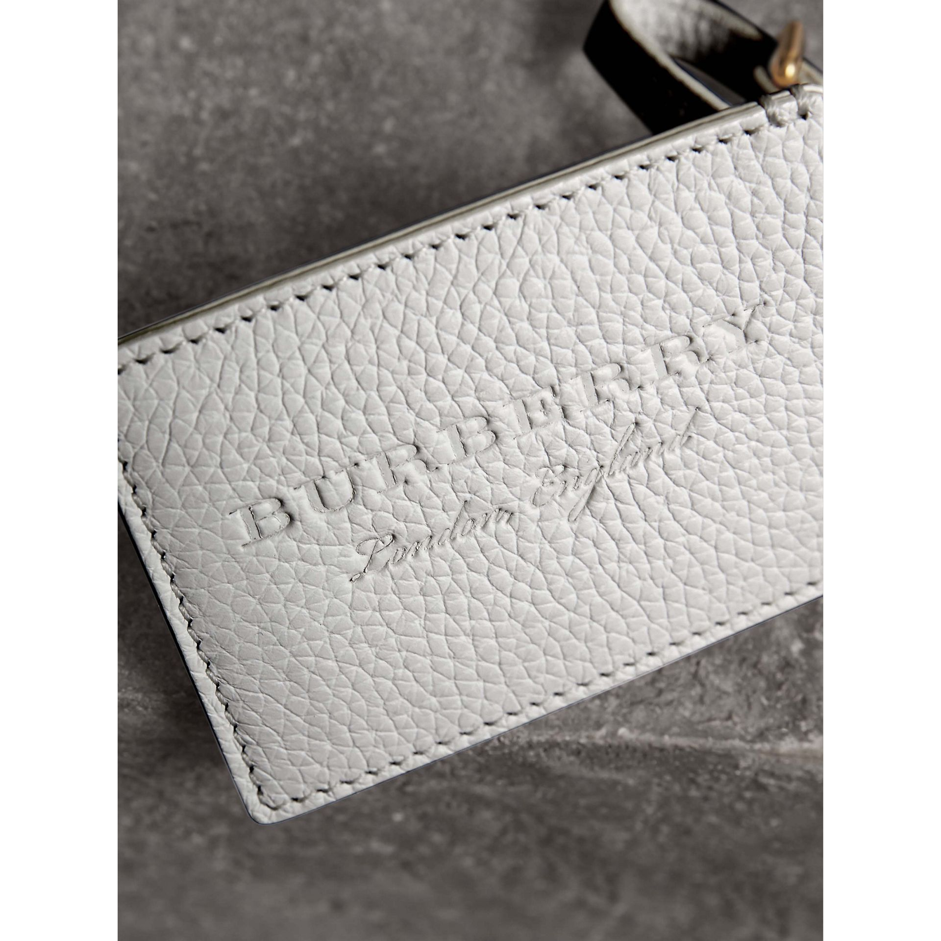 Grainy Leather Luggage Tag in Chalk White | Burberry Singapore - gallery image 1