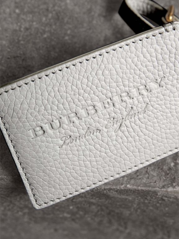 Grainy Leather Luggage Tag in Chalk White | Burberry Canada - cell image 1