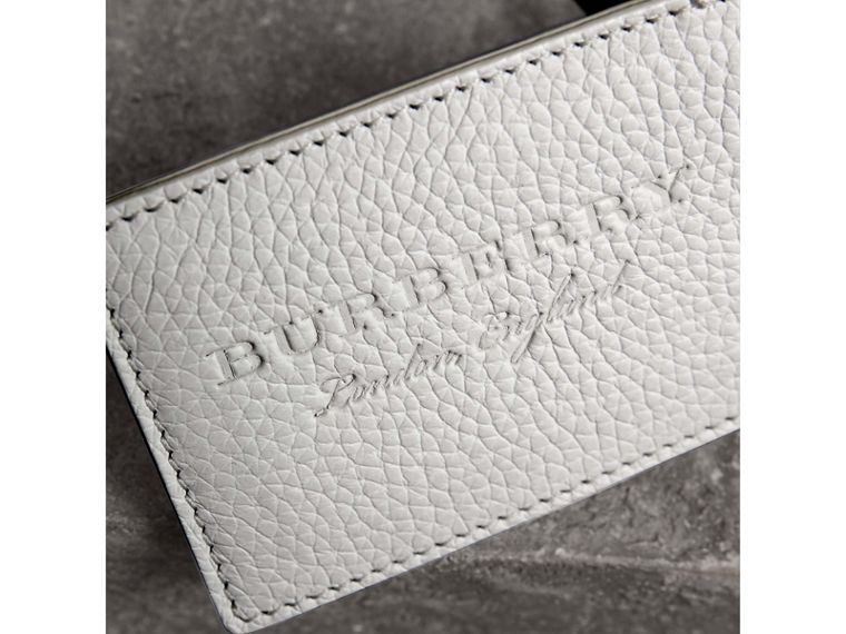 Grainy Leather Luggage Tag in Chalk White | Burberry - cell image 1