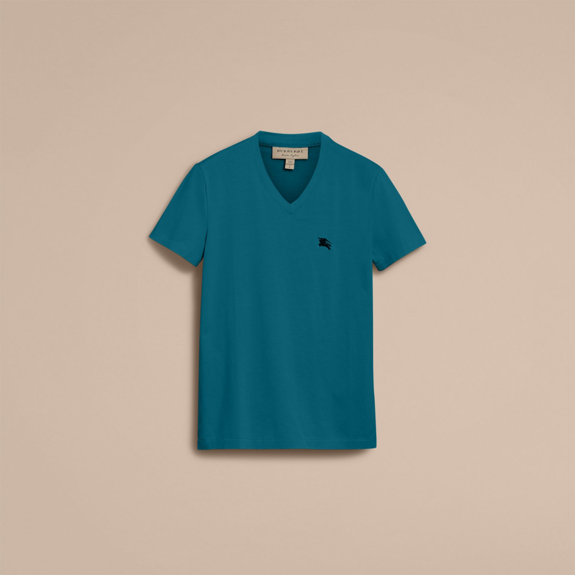 Cotton V-neck T-shirt in Mineral Blue - gallery image 4