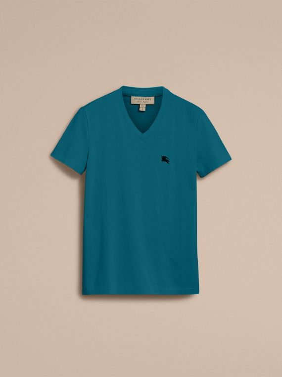 Cotton V-neck T-shirt in Mineral Blue - cell image 3