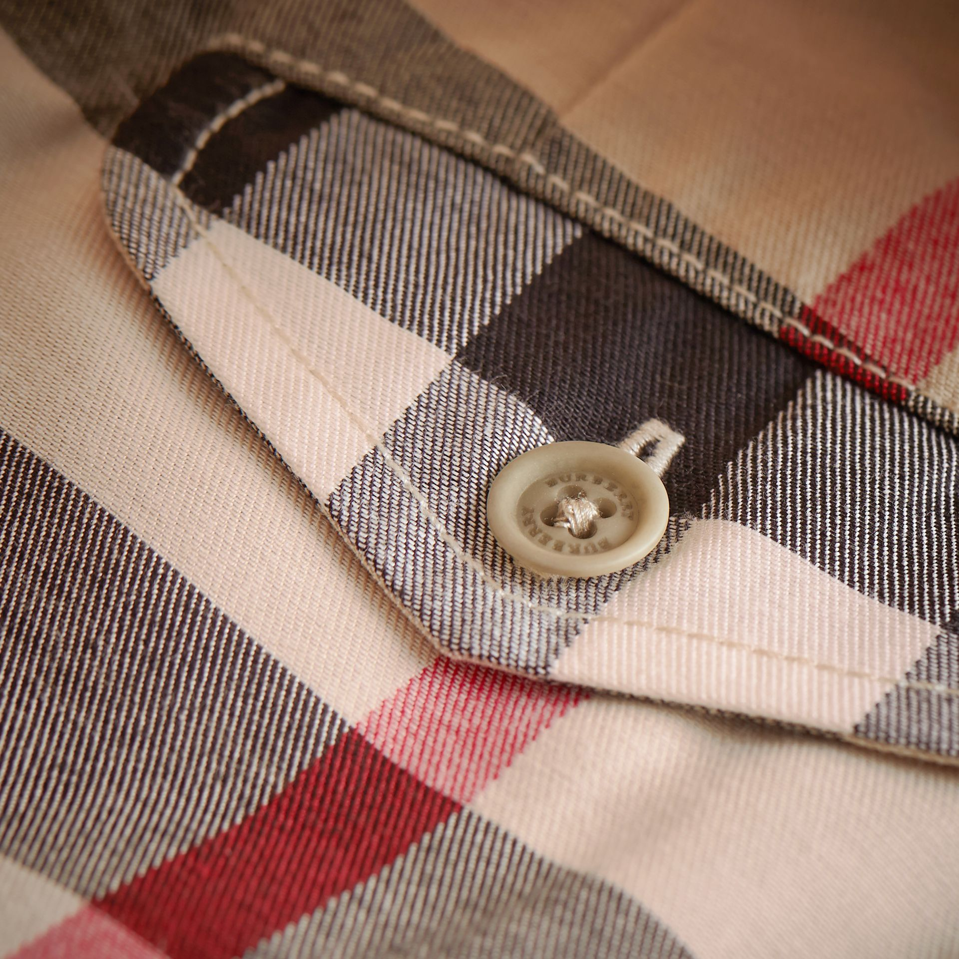 Check Cotton Chino Shorts in Stone - Boy | Burberry Australia - gallery image 2