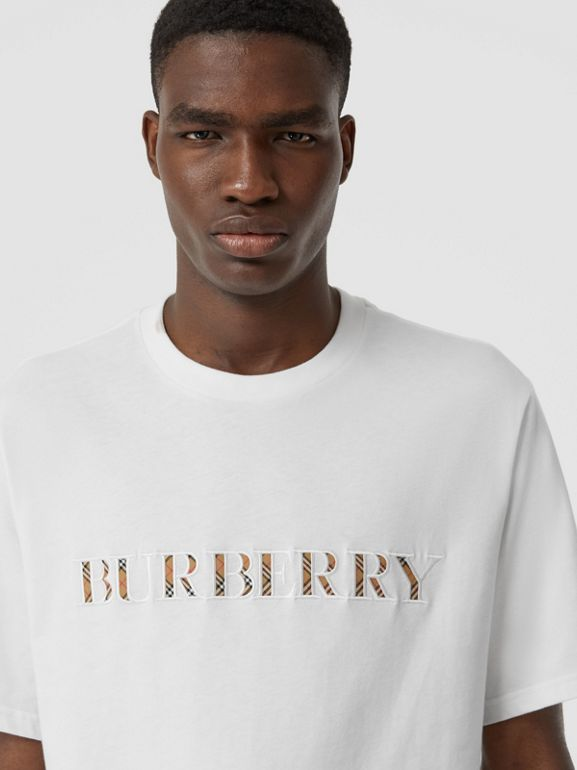 Embroidered Check Logo Cotton T-shirt in White - Men | Burberry - cell image 1