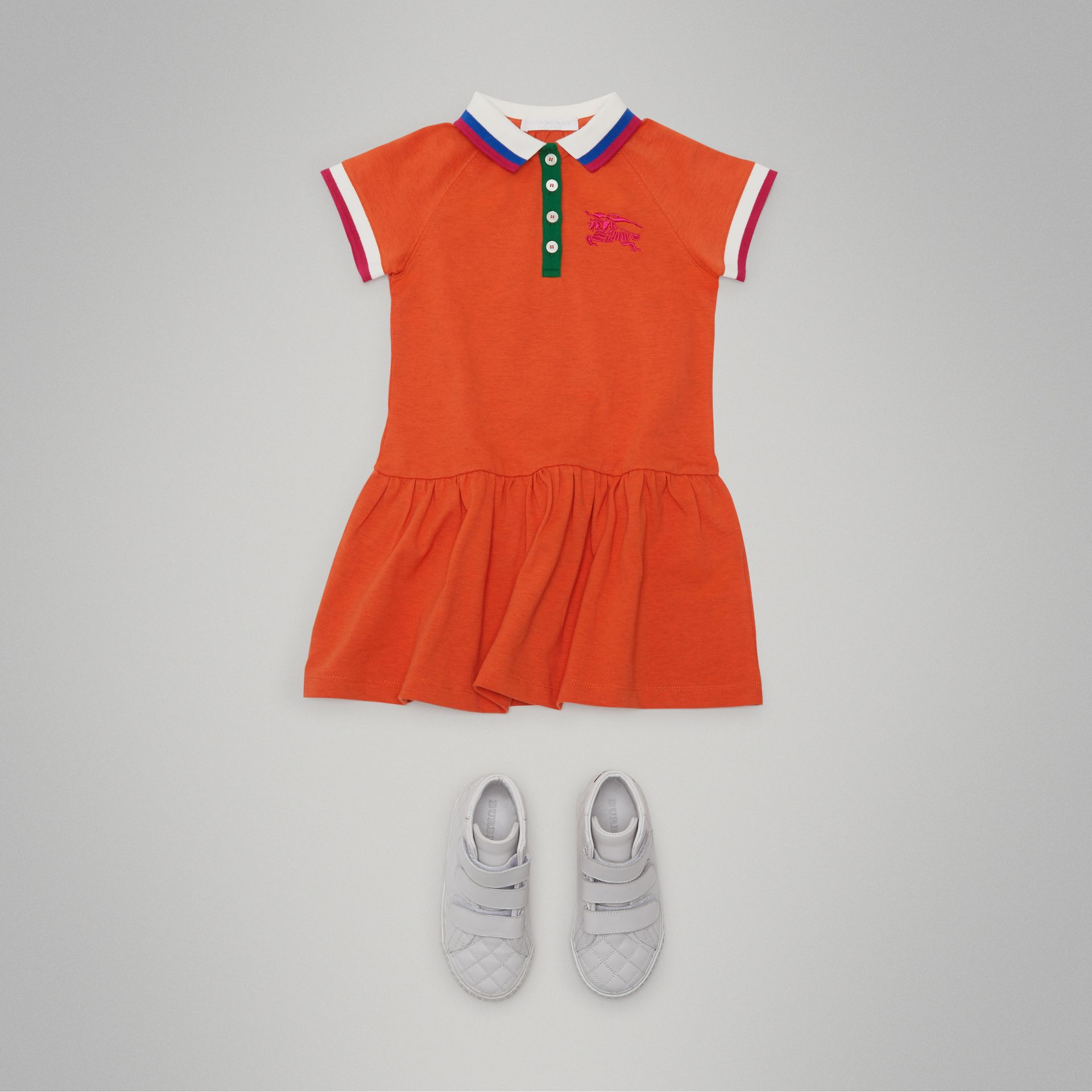 Stretch Cotton Polo Dress in Bright Clementine Melange - Girl | Burberry - gallery image 2