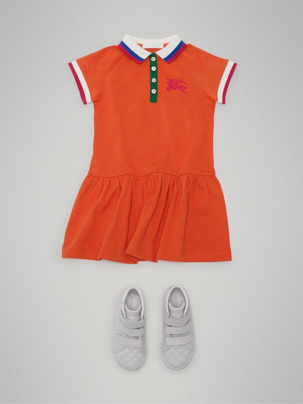 Stretch Cotton Polo Dress in Bright Clementine Melange - Girl | Burberry - cell image 2