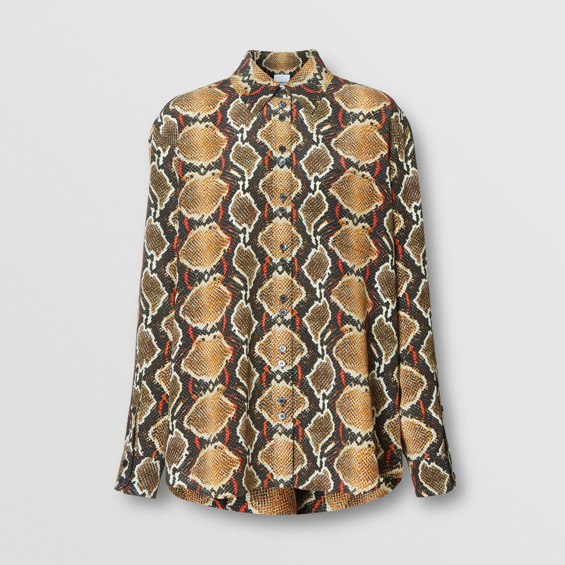 Chemise en soie à imprimé python (Cacao Doux) - Femme | Burberry - photo de la galerie 3