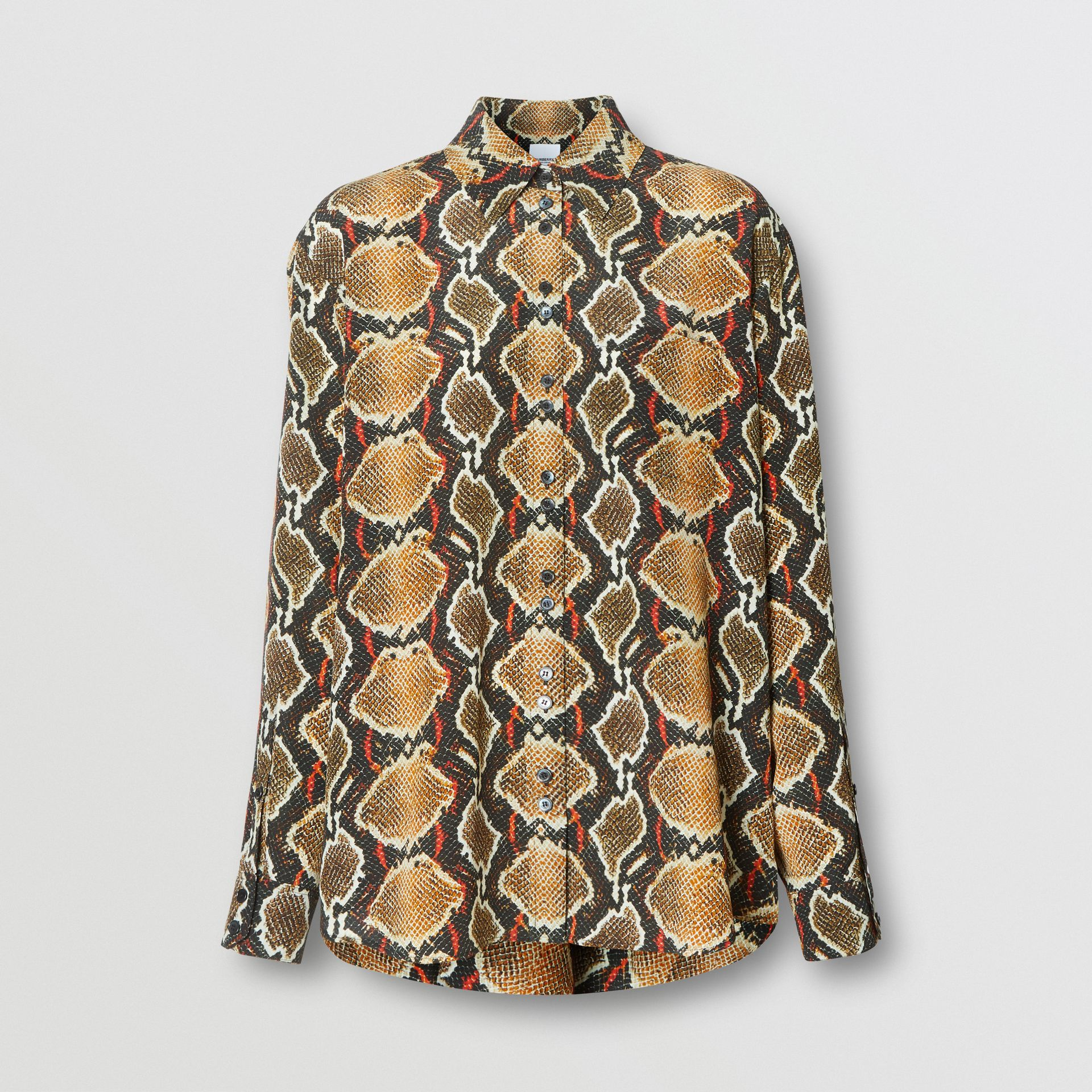 Python Print Silk Shirt in Soft Cocoa - Women | Burberry United Kingdom - gallery image 3