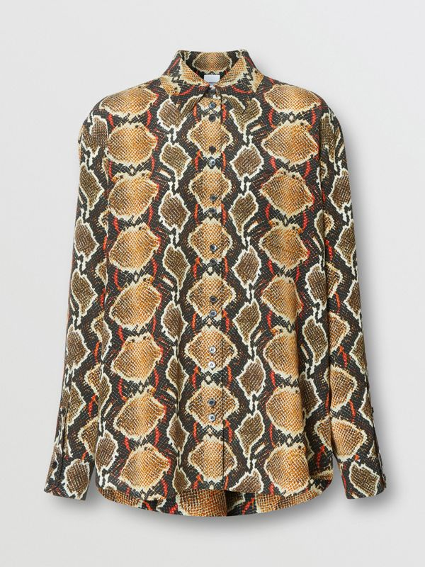 Chemise en soie à imprimé python (Cacao Doux) - Femme | Burberry - cell image 3