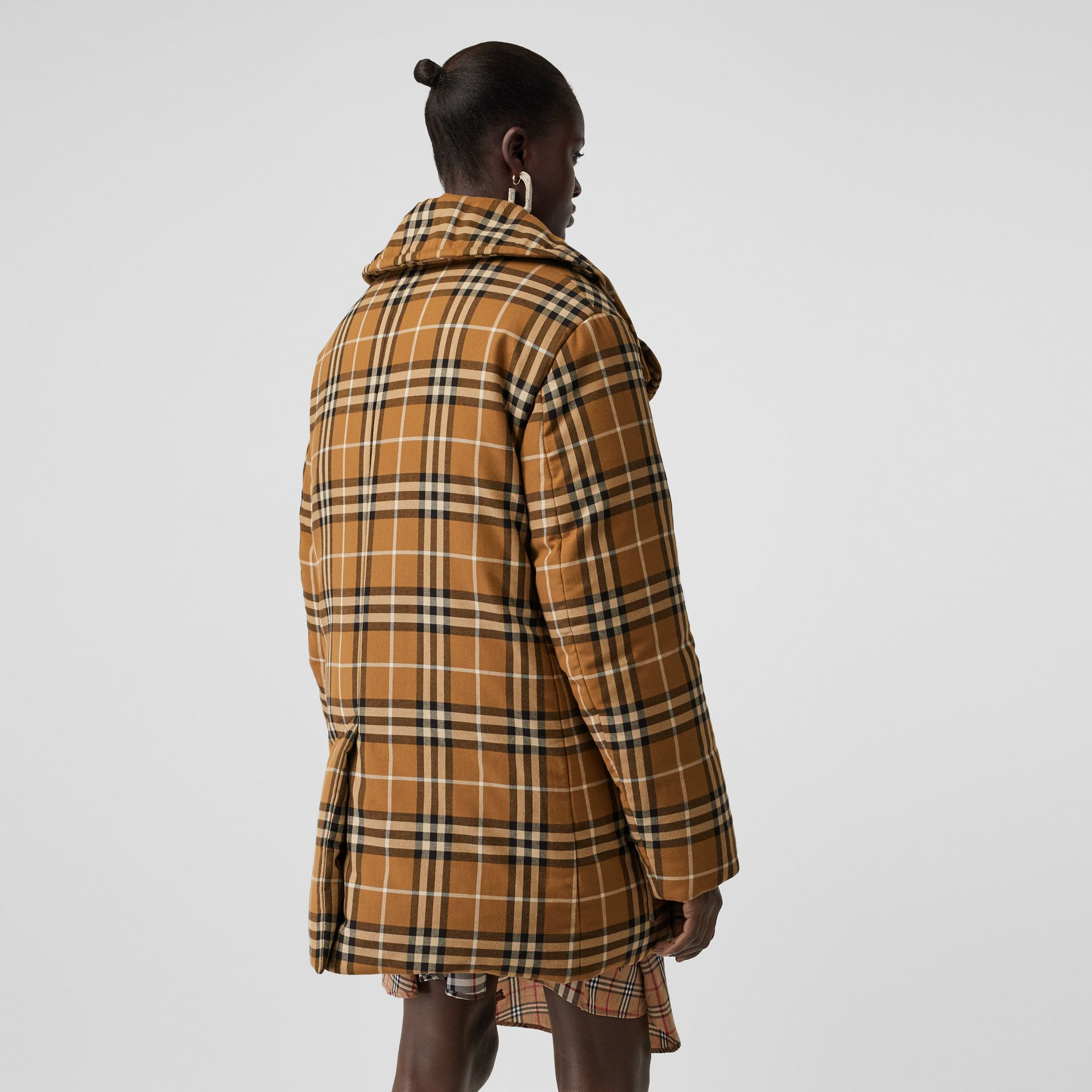 Horseferry Print Check Down-filled Oversized Pea Coat in Warm Walnut - Women | Burberry - gallery image 2