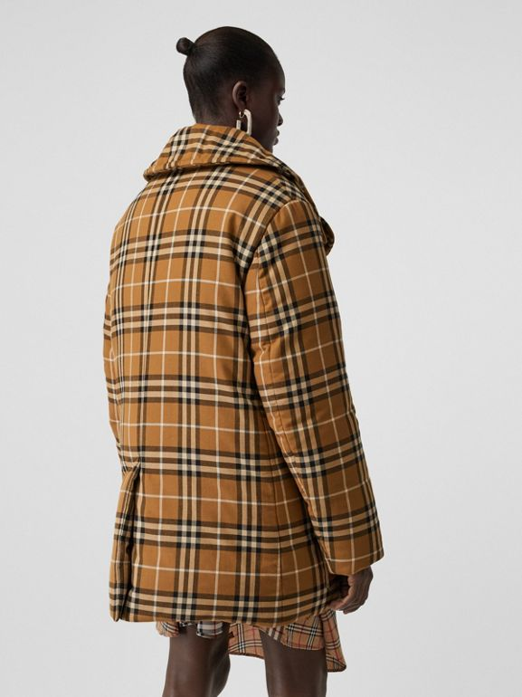Horseferry Print Check Down-filled Oversized Pea Coat in Warm Walnut - Women | Burberry - cell image 1