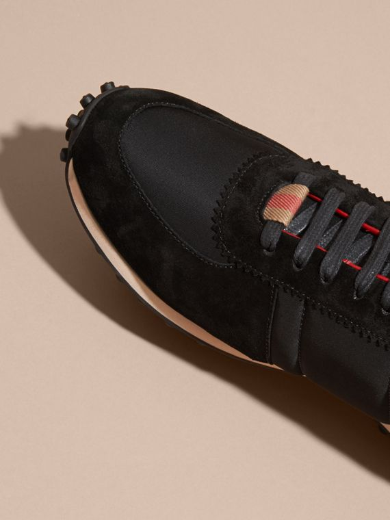 House Check Trim Suede and Technical Satin Sneakers in Black - Men | Burberry - cell image 2