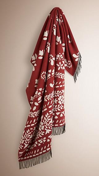 Floral Jacquard Wool Cashmere Blanket