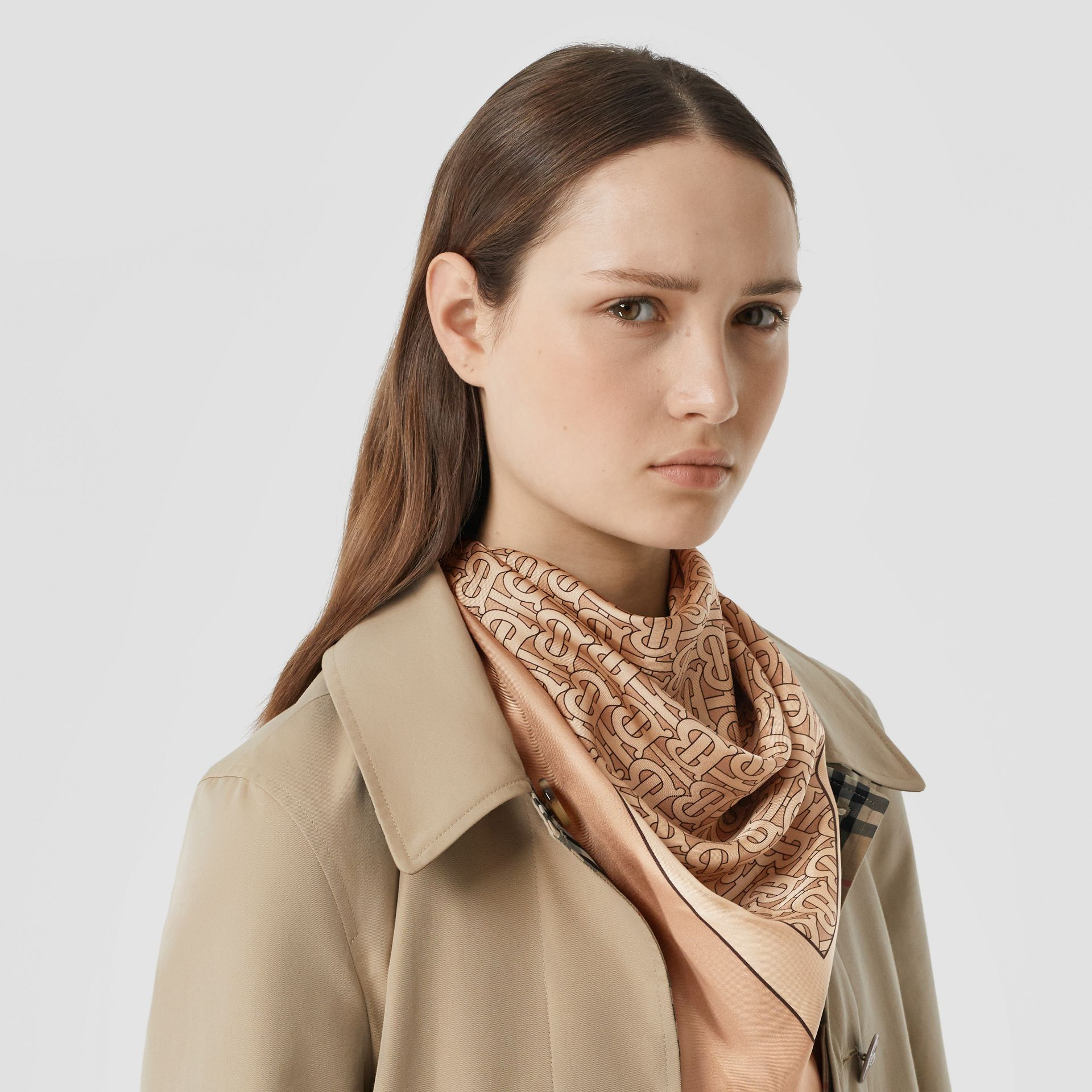 Monogram Print Silk Square Scarf in Pale Copper Pink | Burberry Hong Kong S.A.R - gallery image 2