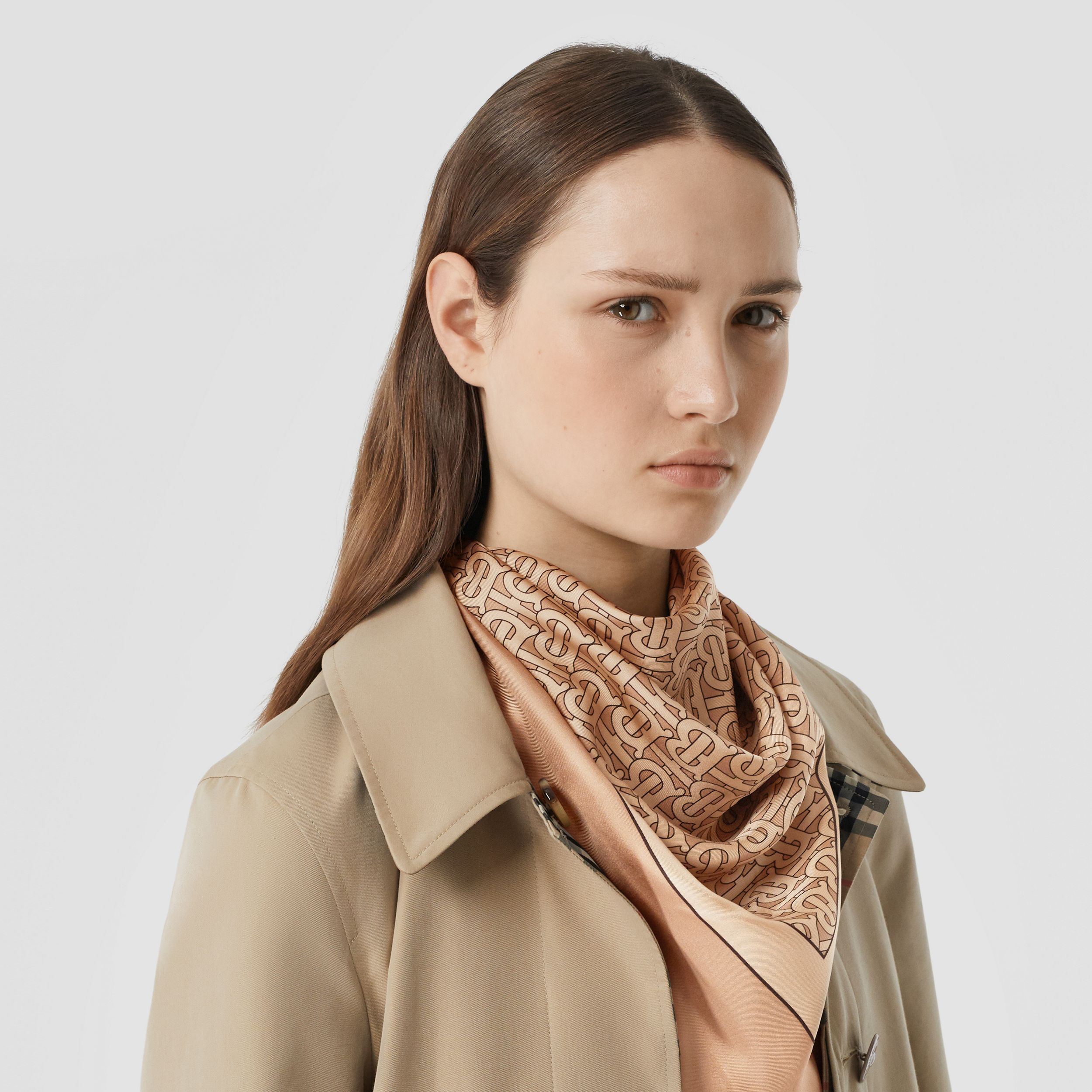 Monogram Print Silk Square Scarf in Pale Copper Pink | Burberry - 3