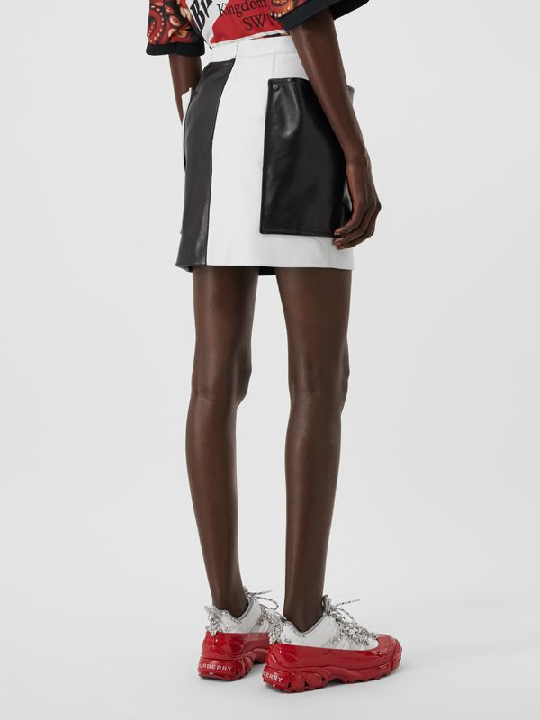 Pocket Detail Two-tone Lambskin Mini Skirt in Black/white - Women | Burberry Australia - cell image 2