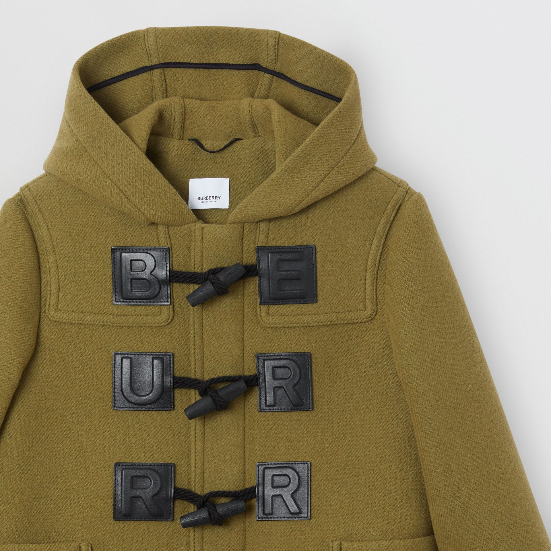 Logo Detail Wool Cashmere Blend Duffle Coat in Oregano | Burberry - gallery image 1