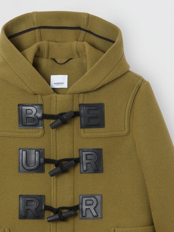 Logo Detail Wool Cashmere Blend Duffle Coat in Oregano | Burberry - cell image 1