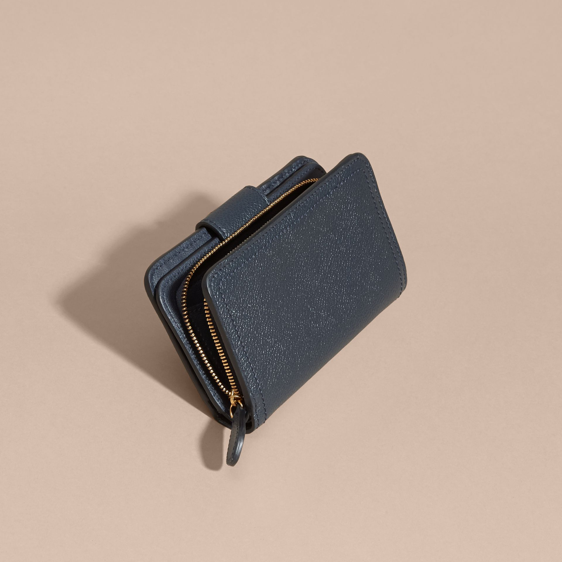 Blue carbon Buckle Detail Grainy Leather Wallet Blue Carbon - gallery image 4