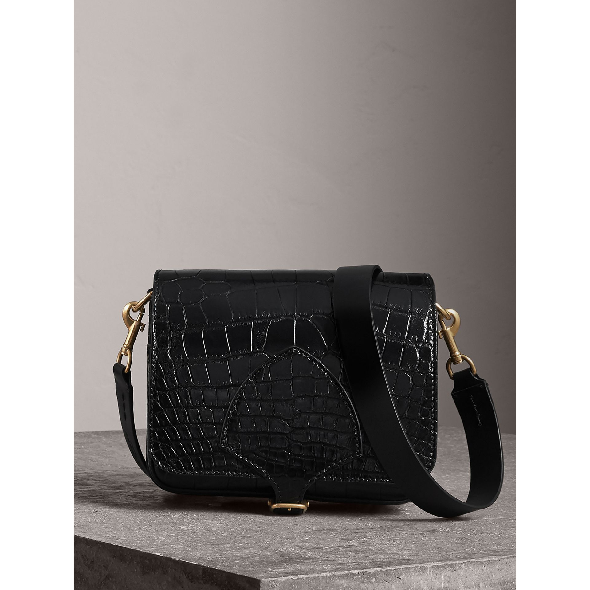 The Square Satchel in Alligator in Black - Women | Burberry United Kingdom - gallery image 0